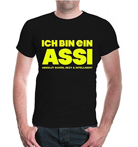 buXsbaum® Herren Unisex Kurzarm T-Shirt Bedruckt Ich Bin EIN Assi   asozial Alkohol arbeitslos   S Black-Neonyellow Schwarz