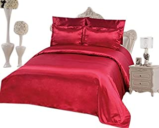 OctoRose 6 PCS Duvet Cover Set, Supreme Quality Sexy Silky Satin,1 Large Size Double Heads Zipper Duvet Cover,1 Fitted Sheet, 2 Pillow case,2 Pillow Shams (Burgundy, King)