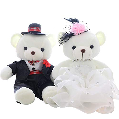 unlockgift Juguetes de peluche para novia y novio de 39,4 cm, regalos de boda para la pareja únicos, regalos de novia y novio para el día de la boda (B4001)