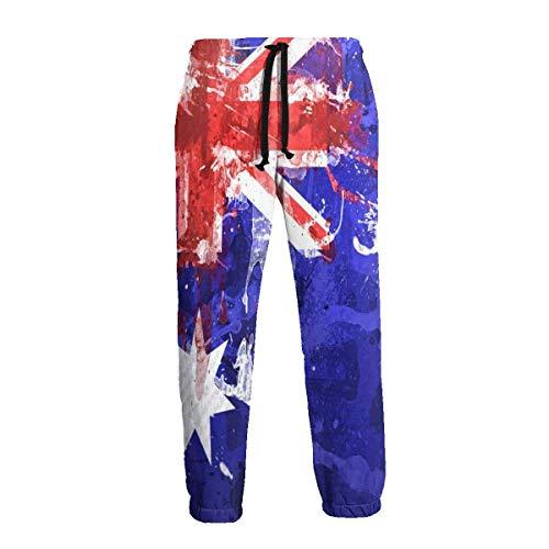Lewiuzr Pantalones de chándal con Bandera Australiana para Hombre Pantalones Deportivos con Bolsillos