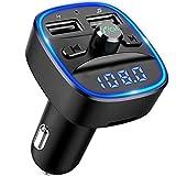 【2019 Neue】Criacr Bluetooth FM Transmitter, Auto Radio Bluetooth Adapter mit Freisprecheinrichtung, 2 USB Anschlusses 5V/2.4A, Blaue Umgebende Leuchte, Unterstützt TF Karte & USB-Stick...