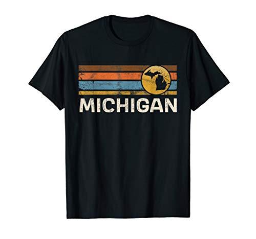 Graphic Tee Michigan US State Map Vintage Retro Stripes T-Shirt