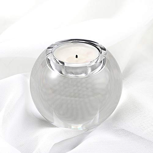 OwnMy 80MM Crystal Glass Ball Tea Light Candle Holder - Elegant Heavy Solid Glass Sphere Votive Tealight Holder Round Clear Candle Holder Candlestick Centerpiece for Dining Table, Home Decor, Wedding