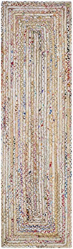"Safavieh Cape Cod Collection CAP202B Handmade Boho Braided Jute & Cotton Runner, 2'3"" x 6' , Beige / Multi"