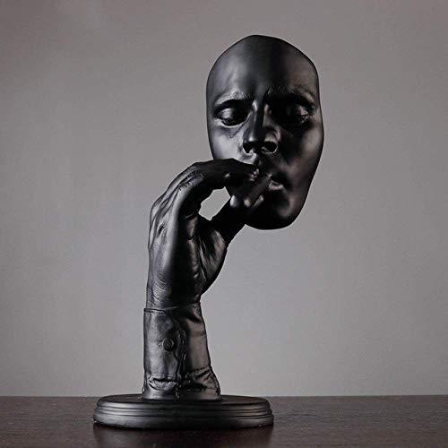 Ayanx Méditants Sculpture Homme Fumeur Cigare Visage Statue Résine Figurine Oeuvre Décoration de La Maison Ornementslack