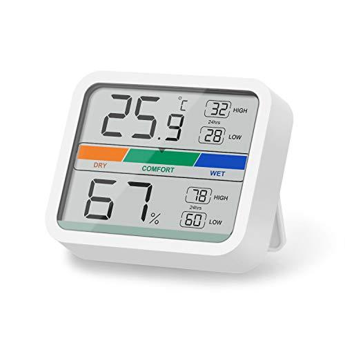 LIORQUE Digitales Thermometer Hygrometer Innen Thermo-Hygrometer mit Magnet, MIN/MAX- Aufzeichnungen für Raumklimakontrolle, inkl. Batterie, Weiß