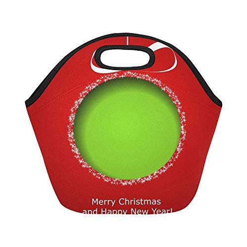 isolé Neoprene Lunch Bag Vert abstrait boule de Noël découpé papier grande taille réutilisable thermique épais sacs fourre-tout pour des boîtes à lunch pour l'extérieur, travail, bureau, école