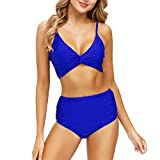 Zando Womens Athletic Swimsuits with Triangle Bottoms Two Piece Swimsuit for Women High Waisted Bathing Suits for Women Royal Blue 4-6
