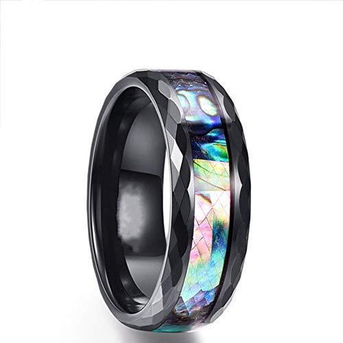 liming 8mm Silber Hartmetall Ring Blau Feueropal & Shell Inlay Für Männer Frauen Hochzeit Verlobungsring Bague Homme, 9, Pic Show 8