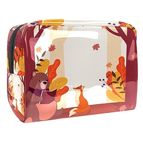 Bolsas de cosméticos PVC con cremallera bolsa de aseo Baby Woodland Friends Bolsa de maquillaje para baño, vacaciones y organización, Autumn Bear - Libro de lectura, 18.5x7.5x13cm/7.3x3x5.1in,
