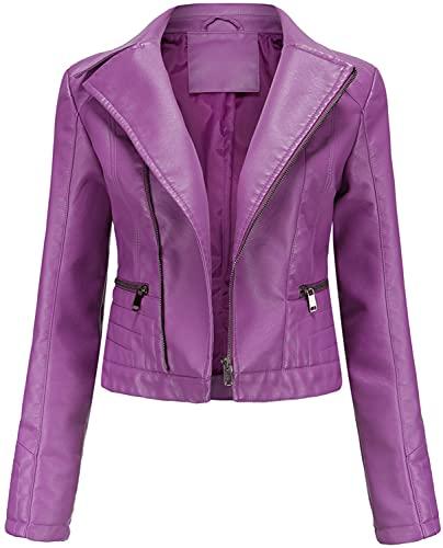 E-Qianw Chaqueta De Cuero De Piel Sintética para Mujer Slim Short Abrigo Zipper Moto PU Chaquetas,Violeta,XL