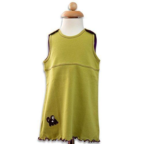 Maman Ocllo - Robe pour enfant, vert anis, prune, singe, coton bio Pima, corozo, végan, Taille 0-18 Mois - 12-18 mois