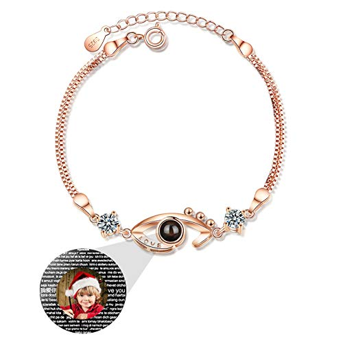 KkllaaWW Custom Photo Bracelet Personalized Projection Bracelet Eye Love Memory Bangle 100 Languages I Love You Bracelet for Wife(Rose Gold Full Color)