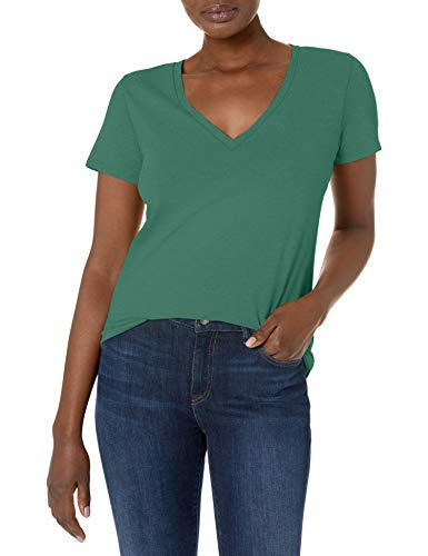 J.Crew Mercantile Damen Vintage Cotton V-Neck T-Shirt, Rugby Green, Klein