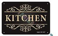 ホーム、農家、ショップ、カフェバー、レストラン、パブ、男の洞窟金属ビンテージスズ記号の壁の装飾12 x 8インチのキッチンサイン黒背景