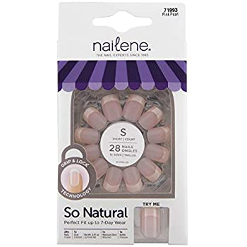 Nailene So Natural Short Artificial Nails Pink Pearl – Fake Nail Kit with 28 Nails  12 Sizes  and Nail Glue Included – Designed for Comfort & Natural Look – False Nails with up to 7 Days of Wear