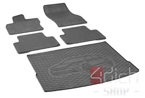 Passgenaue Kofferraumwanne und Gummifußmatten geeignet für VW Tiguan ab 2016 + Autoschoner MONTEUR
