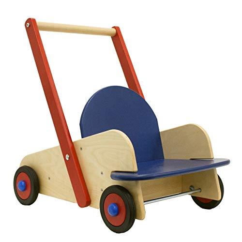 HABA 1646 - Lauflernwagen, Lauflernhilfe aus Holz mit Sitz und viel Platz zum Transportieren von Spielsachen, Holzwagen mit Bremse und bodenschonenden Gummireifen, ab 10 Monaten
