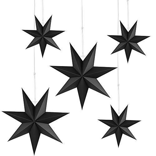 Faltstern Weihnachten, 7 Zacken Faltsterne Schwarz 5 Stück, 2 Stück Durchmesser 40 cm, 3 Stück Durchmesser 25 cm, Sterne Papier zum Fenster Dekoration, Advent, Weihnachtsbaum
