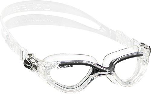 Cressi Flash - Premium Erwachsene Schwimmbrille Antibeschlag und 100% UV Schutz, Transparent/Schwarz - Transparent Linsen, One Size