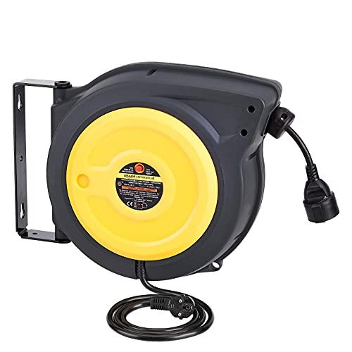 AmazonCommercial - Prolunga avvolgicavo retrattile, resistente, con supporto girevole, 2,5 mm² x 15 m - Grigio, giallo, nero