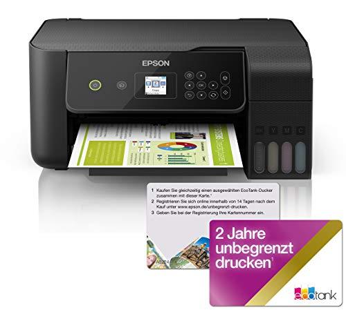 Epson EcoTank ET-2720 - Impresora multifunción 3 en 1 (Impresora, escáner, fotocopiadora, DIN A4, WiFi, USB 2.0, depósito de Tinta Grande, Gran Alcance, bajo Coste de página), Color Negro
