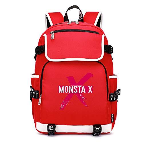 Vbggorgkjo Monsta X Bolso Casual del Ordenador de la Mochila de la Mochila de la Moda Salvaje de la Tendencia del Negocio Unisex (Color : Red02, Size : 37 X 16 X 45cm)