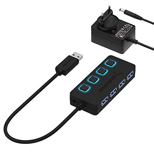 Sabrent USB-Hub mit einzelnen Netzschaltern und LEDs USB 3.0 + PA Schwarz