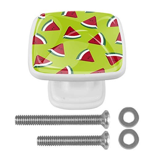 Schrankknöpfe mit Schrauben für Küche, Kommode, Schrank, Badezimmer, Kleiderschrank, Wassermelonenscheiben, 4 Stück