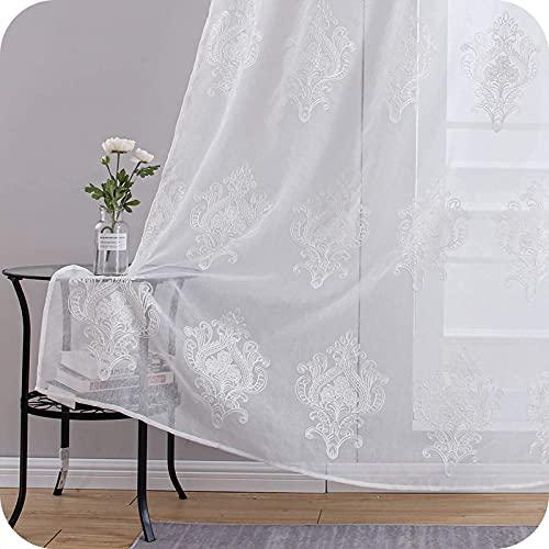 Topfinel Stickerei Voile Gardinen mit Ösen in Leinen-Optik Barock Vintage für Wohnzimmer Fenster Tüll Vorhänge Transparente Dekoschal 2er Set je 225x140cm (HxB) Weiß