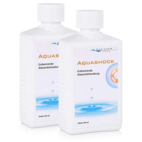 2x AQUASHOCK von Stricker Entkeimer für Wasserbetten (je 250ml) - Entkeimende Wasserbehandlung bei übermäßiger Luftbildung und Geruchsbelästigung im Wasserbett durch Bakterienbefall