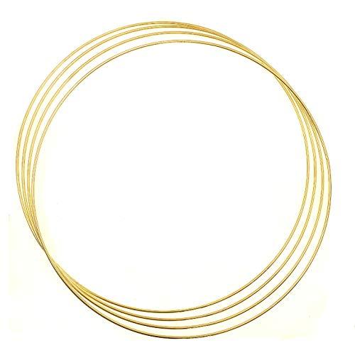 JZK 4 x anelli in metallo dorato grandi per realizzare anelli in macramè, 35 cm, per realizzare anelli in metallo per acchiappasogni, decorazione da parete