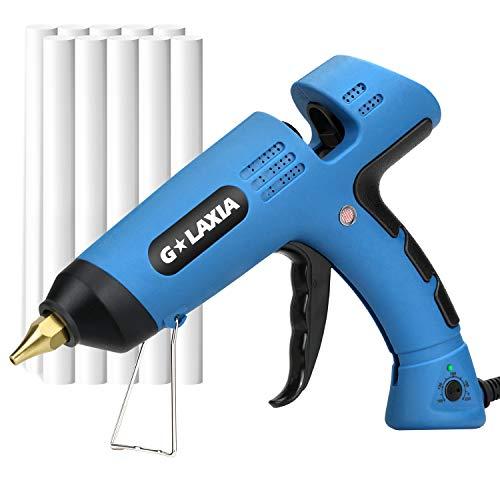 G LAXIA Pistola de Silicona Profesionales,100 W Pistola de Pegar Con 10PCS 11.8mm Barras de Pegamento Calentamiento Rápid, 100-220℃ Temperatura regulable, para Proyectos de Bricolaje y Manualidades