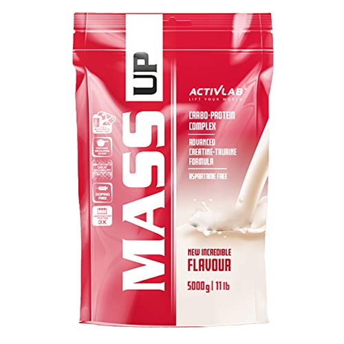 Activlab Mass Up Package of 1 x 5000g - Mass Gainer – Carbohydrates with Whey Protein Concentrate and Creatine (Blueberry)