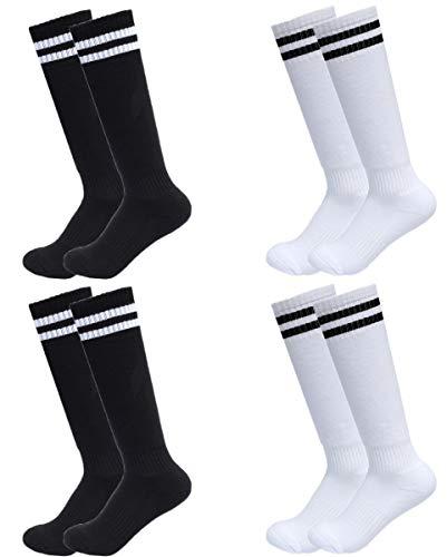 4Pairs Boys Girls Soccer Socks Sport Cotton Team Sock Kids Teenagers Black White