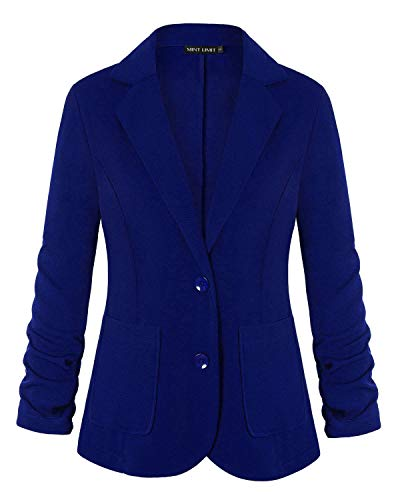 MINTLIMIT 3/4 Sleeve Blazers for Women Open Front Cardigan Buttons Suit Jacket with Pockets Royal Blue #2 Large