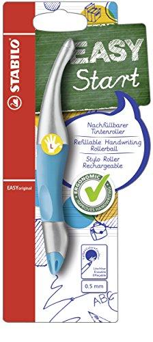 Ergonomischer Tintenroller für Linkshänder - STABILO EASYoriginal metallic in neonblau - Einzelstift - Schreibfarbe blau (löschbar) - inklusive Patrone