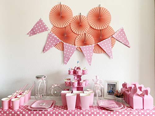 Kit de Fiesta Completo:Vajilla desechable+Bandeja Rosa+Caja de palomita+Caja de Regalo+Decoración para Primera Comunión Niña,Bautizo,Baby Show y Cumpleaños (para 16 invitados, Paquete economico)