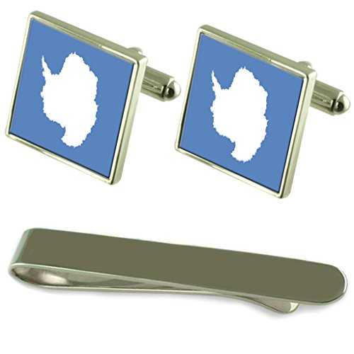 Antarktis Flagge Silber Manschettenknöpfe Krawatten Clip Box Set