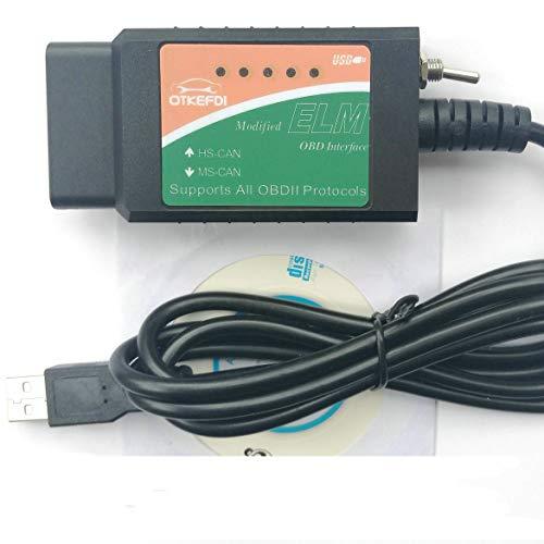 OTKEFDI ELM327 OBD Escáner,ELMConfig ELM 327 USB HS-Can Modificado y MS-Can ELM327 en PIC18F2480 y Chip FTDI,500 kbit/s de Velocidad ELM327