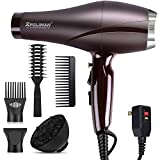 2000 Watt Hair Dryers, Xpoliman Professional Salon Hair Dryer with AC Motor, Negative Ionic Blow Dryer with Diffuser Concentrator Comb, 2 Speed 3 Heat Settings,Low Noise Long Life Style-Brown/Purple