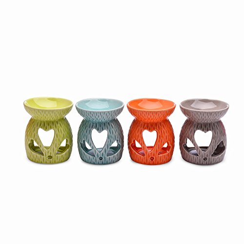 Syndecho Set di 4 Ceramica Bruciaolio Brucia Olio Essenze ,Diffusore di Oli Essenziali, Lampada per Aromaterapia, Forno per Candela; Portacandele,...