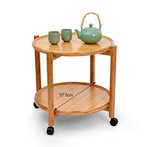 Tables basses Chariot à thé Amovible à Double Rouleau Table à thé Petite Table Mobile de Stockage Simple Moderne (Color : Brown, Size : 57.5 * 57.5 * 50CM)