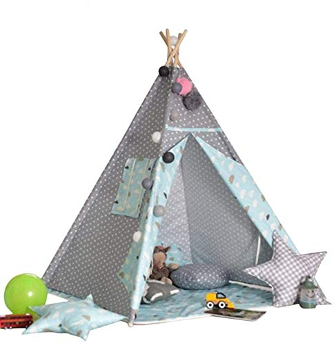 REWD Interesting Foldable Play Tent for Kids Foldable Canvas Teepee Gifts for Baby or Toddlers, Portable Play Tent for Girls and Boys, Great for Indoor Outdoor Children Playhouse (Color : Blue)