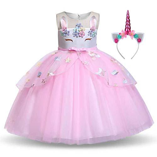 Disfraz Unicornio Niña, Vestidos Unicornio niña, Fiesta de Cosplay, Boda, Partido,Vestido De Princesa 5-6 Años, 130 cm