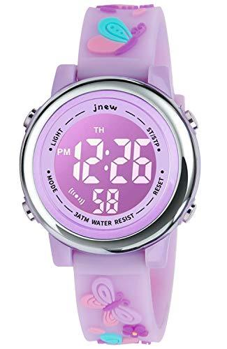 Reloj para niños, reloj de dibujos animados 3D con luces de 18 colores y alarma, regalos para niños para niñas y niños, Reloj 3D de dibujos animados., Mariposa luz morada,...