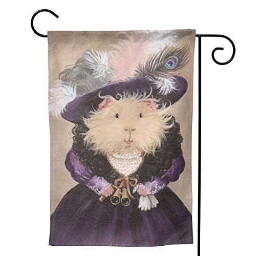 Cy-ril Purple Lady Guinea Pig Cute Funny Welcome Flag Holiday Party Decorations Ornament Home Garden Yard Decor Double Sided 12.5'x18'