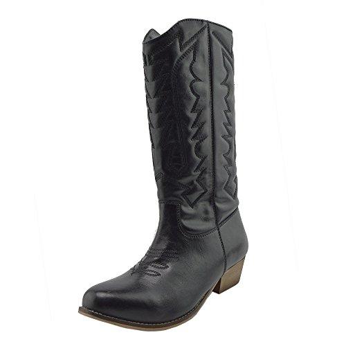 Damen Frauen Mid-Calf-Block-Ferse Reiten Cowboy Biker Boots Zip Ups Schuhe - UK 9 / EU 42, Black-SB
