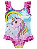 New front Traje de Baño Unicornio de Una Pieza para Niñas Bañador Pony Arcoiris Rainbow Bañadores con Volantes para Piscina Natacion Vacaciones Regalos 3-9 años Niñas