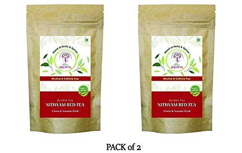 AMEDYYA Nithyam Anti-Bacterial 100% Caffeine Free Herbal Red Tea Blend (70g, 40 Cup) – Nicotinefree – Blend of Herbs & Spices | Anti-Bacterial & Antioxidant for Heart Health, Skin Cleanse